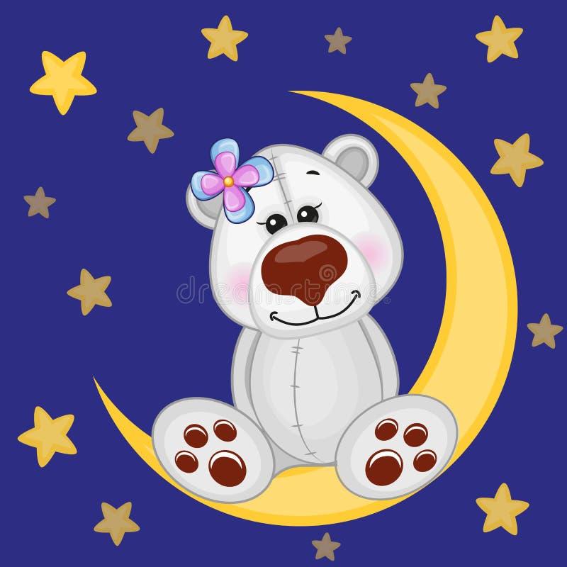 Urso polar bonito na lua ilustração do vetor