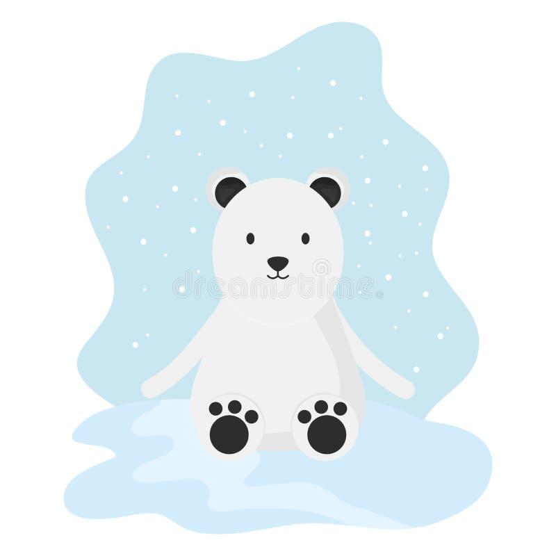 Urso polar bonito no caráter criançola do snowscape ilustração do vetor