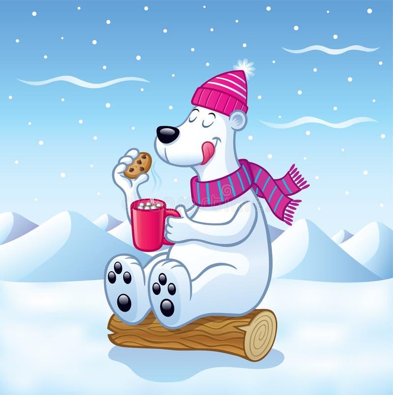 Urso polar com cacau quente ilustração royalty free