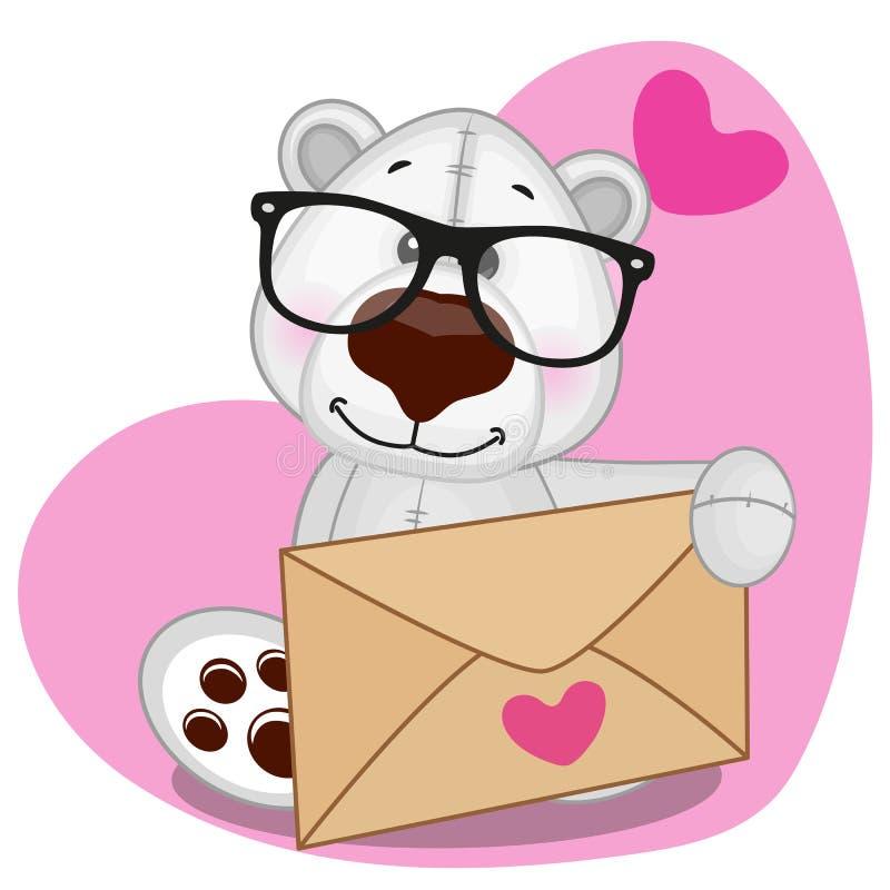 Urso polar com envelope ilustração royalty free