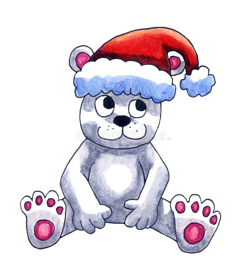 Urso polar com Santa Hat ilustração stock