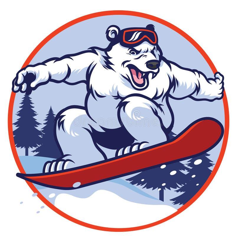 Urso polar com snowboard ilustração do vetor