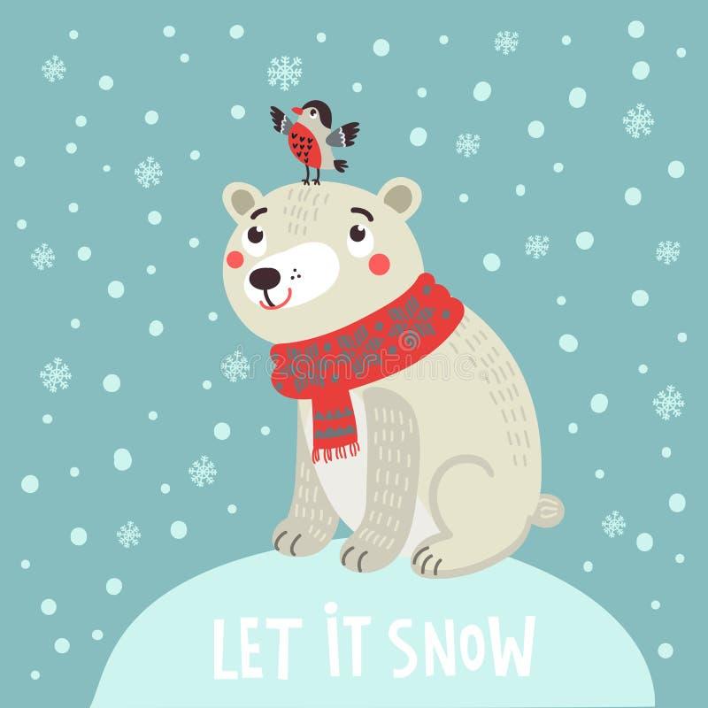 Urso polar com um pássaro Cartão de Natal ilustração stock