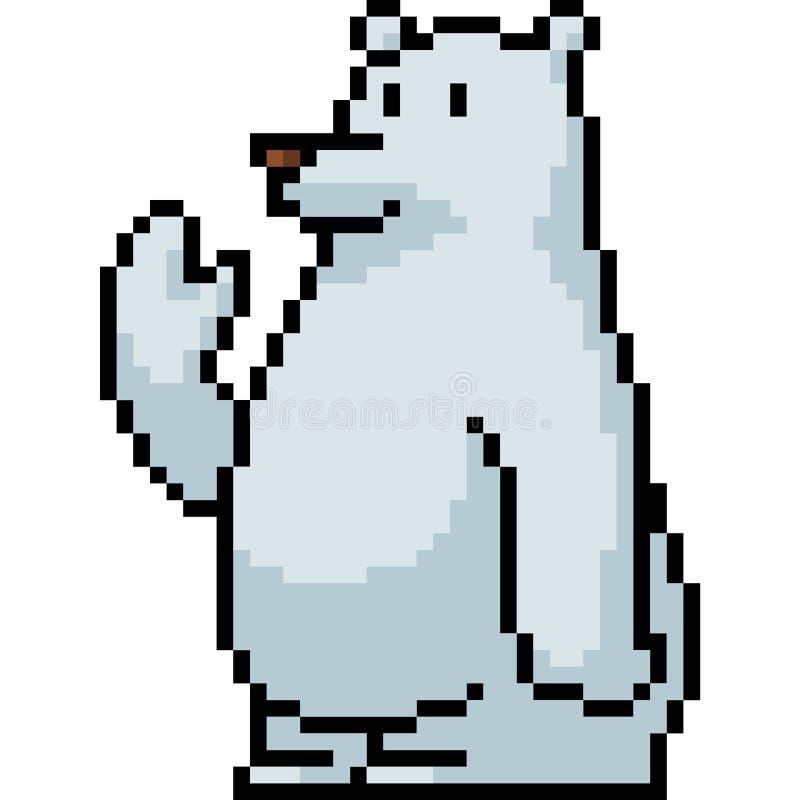 Urso polar da arte do pixel do vetor ilustração do vetor