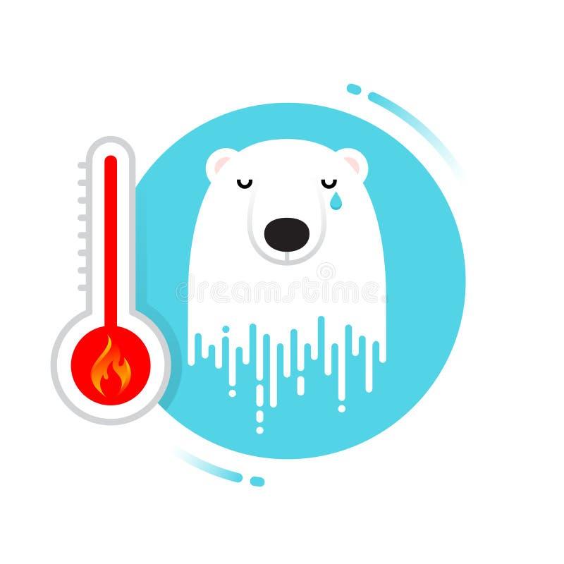 Urso polar de derretimento - aquecimento global ilustração royalty free