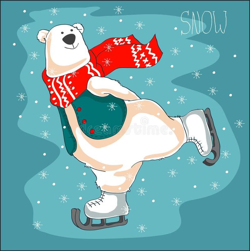 Urso polar de patinagem no lenço vermelho Fundo do Natal ilustração stock
