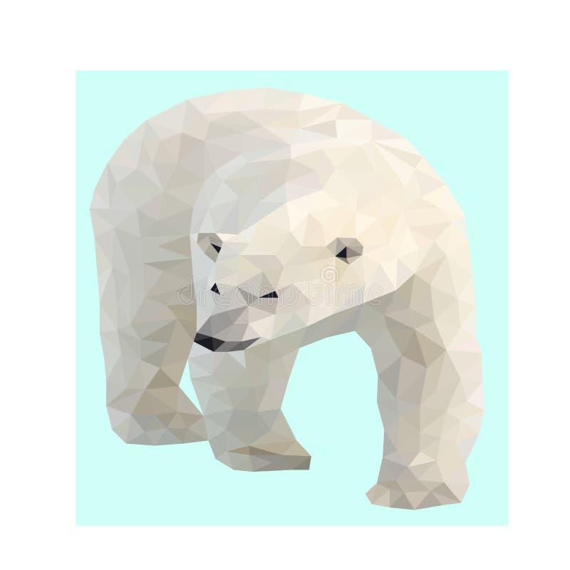 Urso polar do baixo vetor selvagem poli ilustração stock