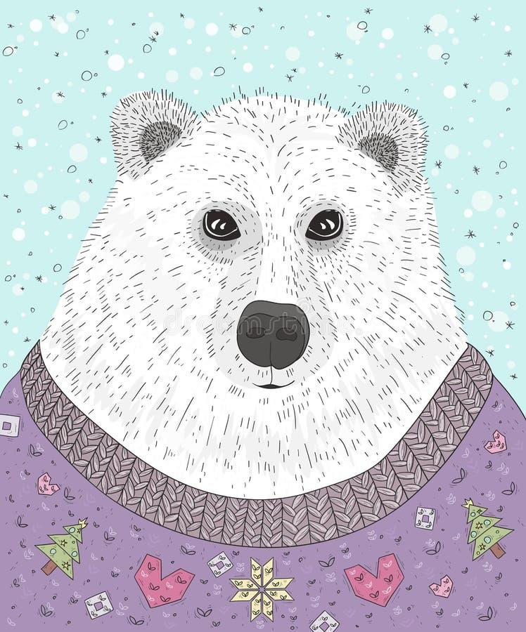 Urso polar do moderno bonito com camiseta do Natal ilustração royalty free