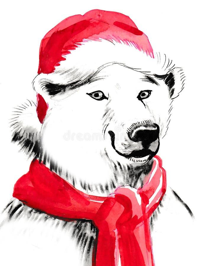 Urso polar do Natal ilustração stock