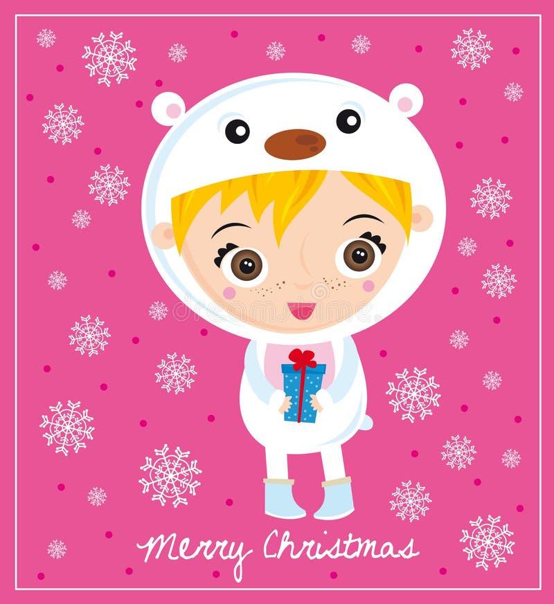 Urso polar do Natal ilustração royalty free