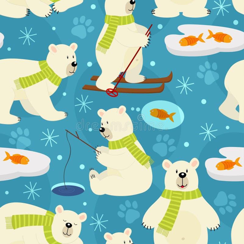 Urso polar do teste padrão sem emenda ilustração do vetor