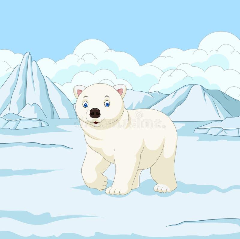 Urso polar dos desenhos animados no snowfield ilustração stock