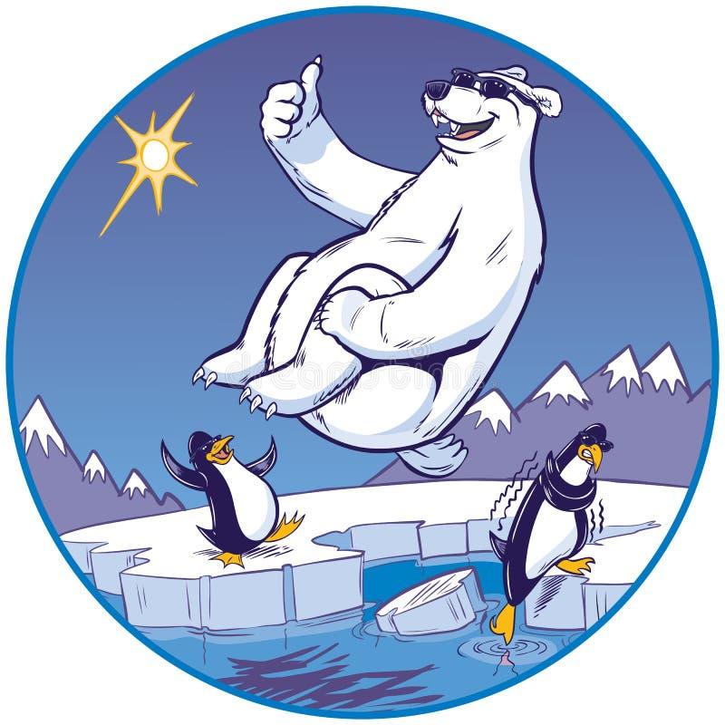 Urso polar dos desenhos animados que faz o mergulho da bala de canhão quando relógio dos pinguins ilustração royalty free