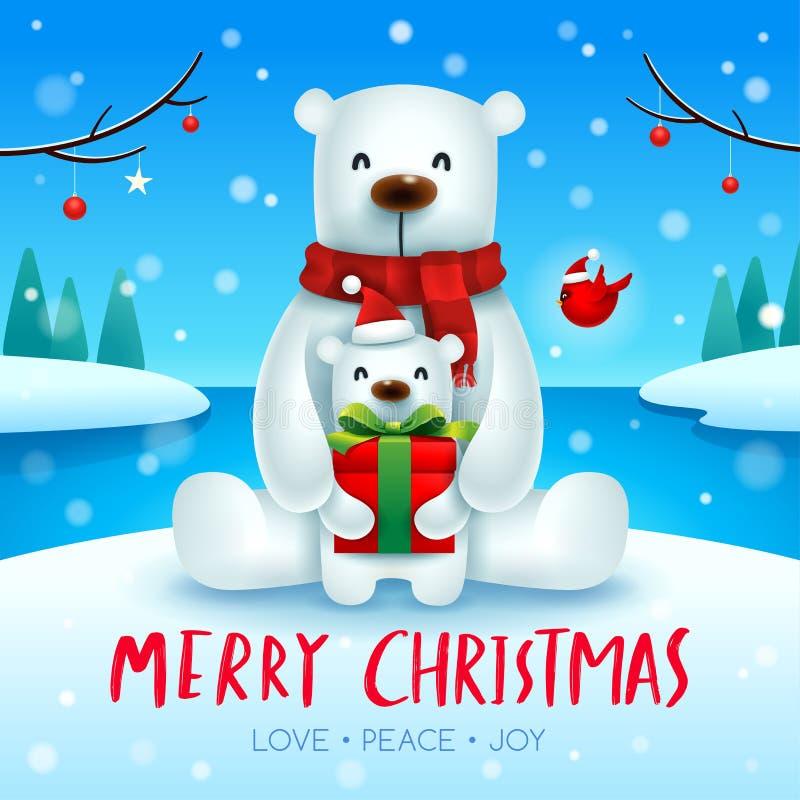 Urso polar e filhote do bebê na cena da neve do Natal ilustração royalty free