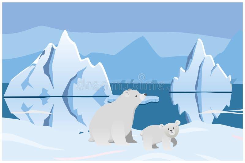 Urso polar e urso Paisagem ártica com iceberg ilustração royalty free