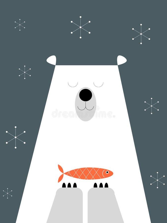Urso polar e peixes em um fundo azul ilustração stock