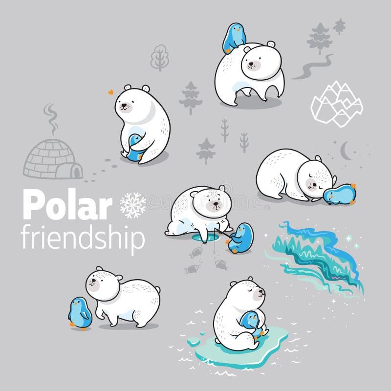 Urso polar e tempo pequeno da despesa do pinguim junto Ilustração do vetor ilustração do vetor