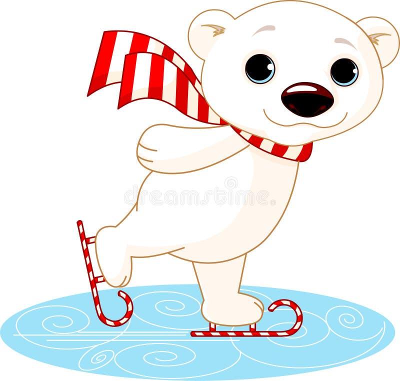 Urso polar em patins de gelo ilustração do vetor