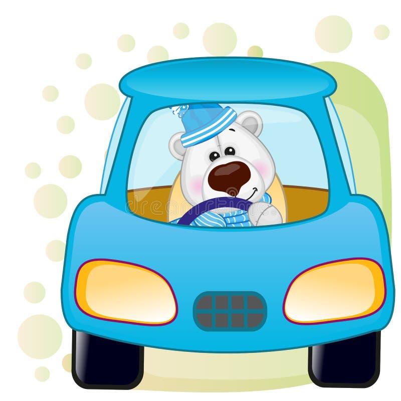 Urso polar em um carro ilustração royalty free