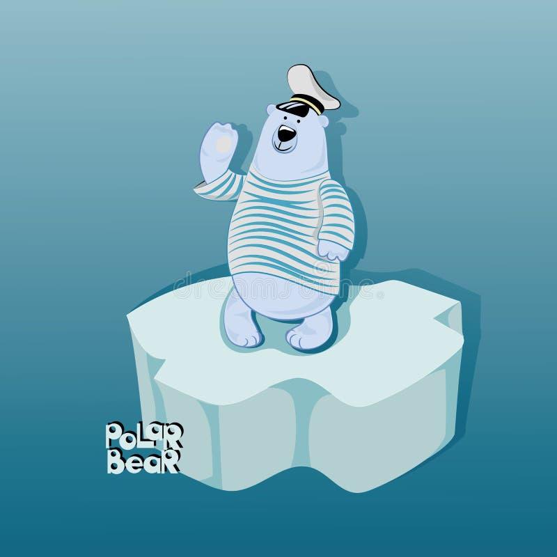 Urso polar em um floe de gelo ilustração stock