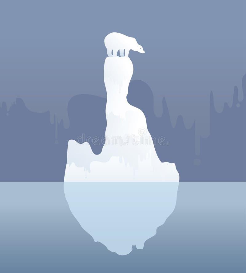Urso polar em um floe de gelo alterações climáticas, ilustração do vetor fotografia de stock royalty free