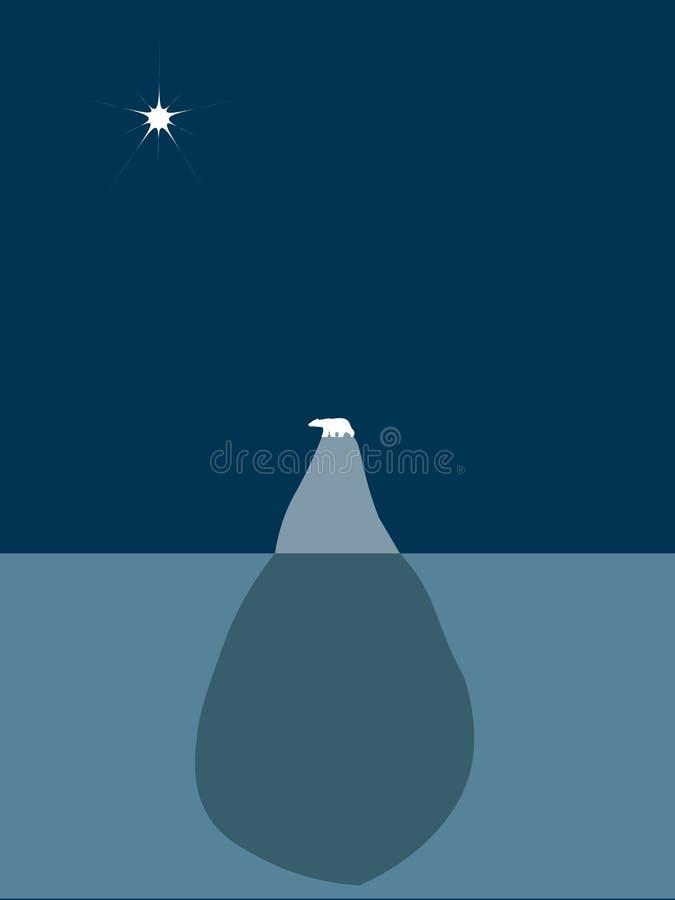 Urso polar em um iceberg ilustração royalty free