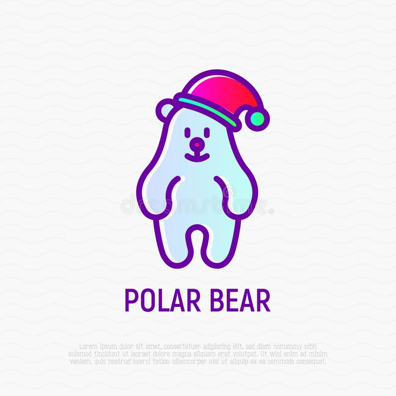 Urso polar engra?ado na linha fina ?cone do chap?u do Natal ilustração stock