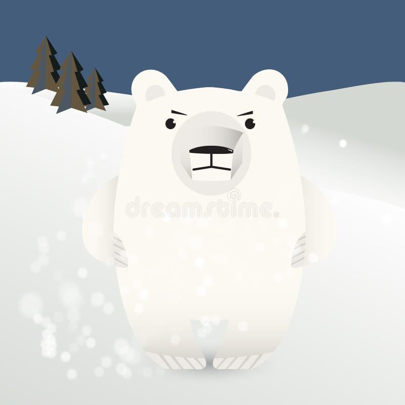 Urso polar entre trações da neve ilustração do vetor