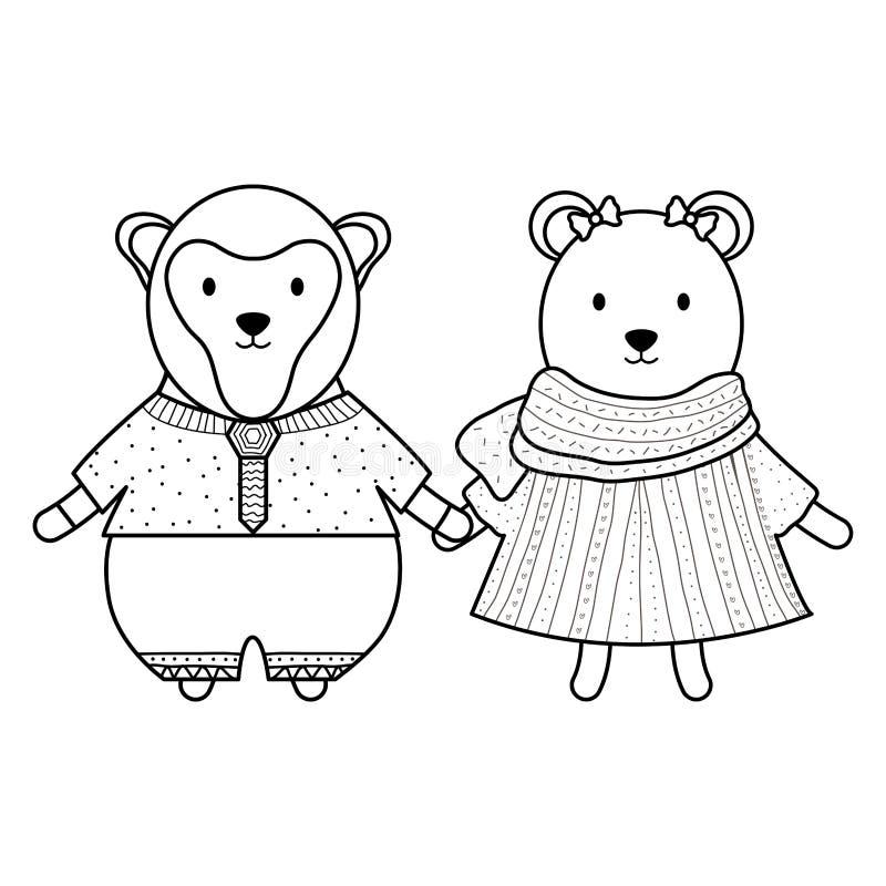 Urso polar fêmea bonito e macaco ilustração stock