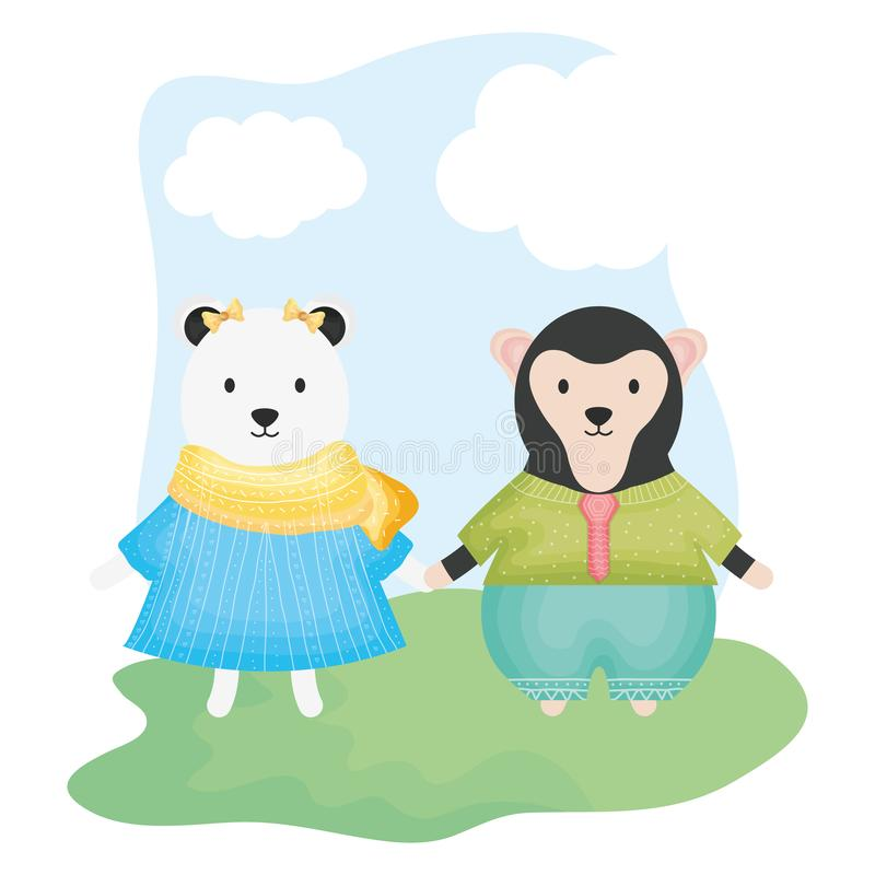 Urso polar f?mea bonito e macaco ilustração royalty free