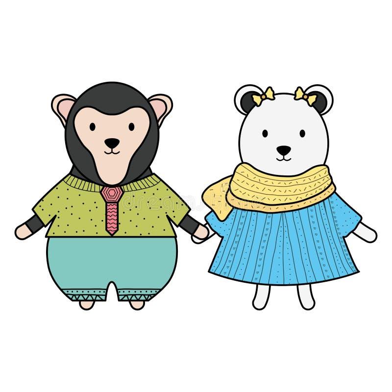 Urso polar f?mea bonito e macaco ilustração stock