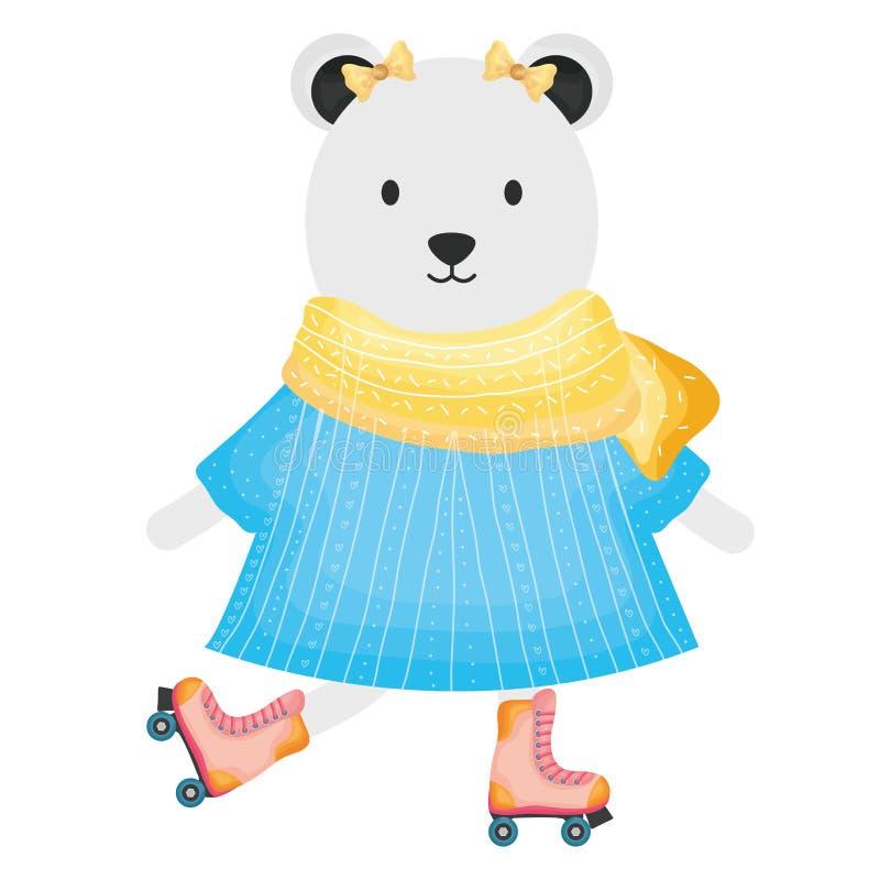 Urso polar f?mea bonito nos patins ilustração do vetor