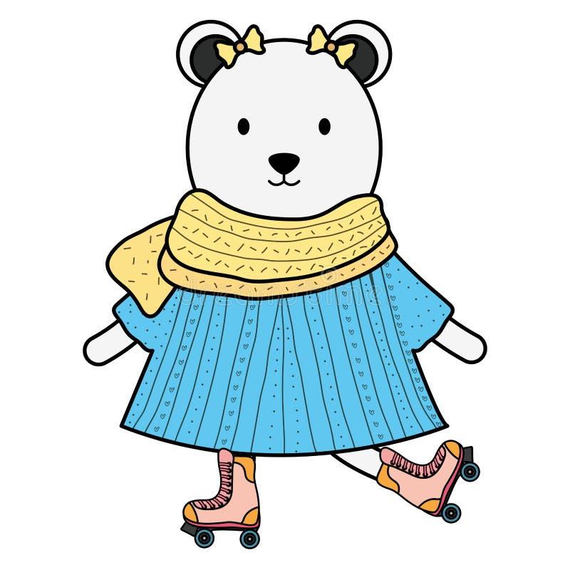 Urso polar f?mea bonito nos patins ilustração stock