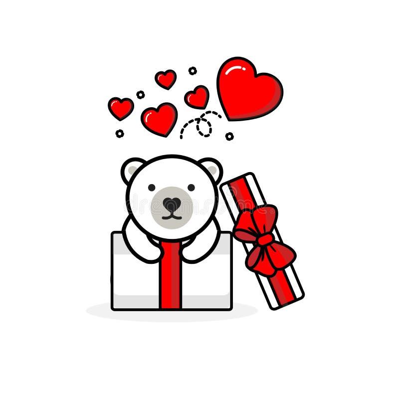 Urso polar feliz dentro da caixa de presente aberta com cora??es da mosca Ilustra??o do vetor ilustração royalty free