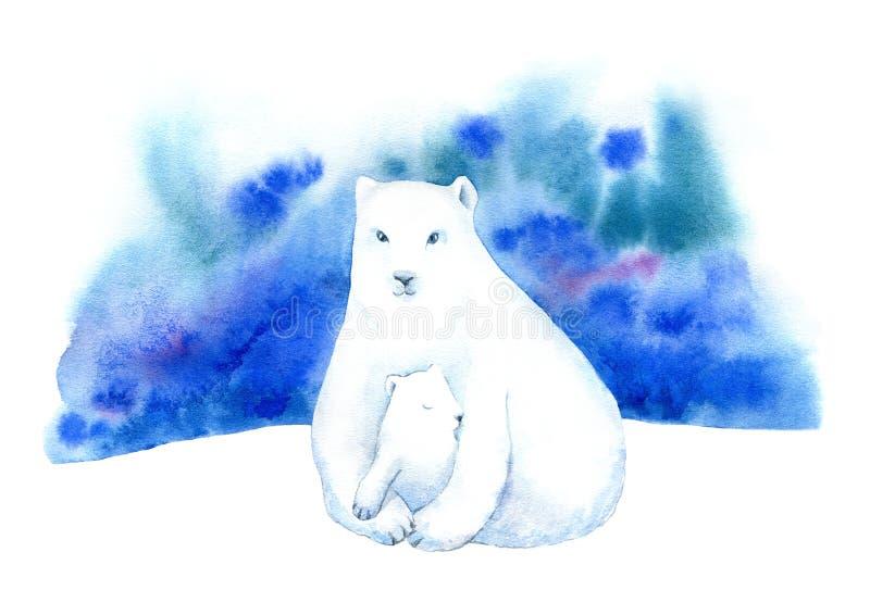Urso polar, filhote de urso e aurora boreal Paisagem do inverno com animais e céu ilustração do vetor