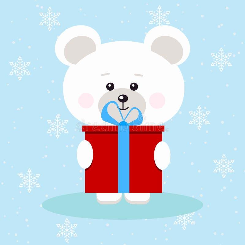 Urso polar isolado do Natal bonito com o presente vermelho com curva azul no fundo da neve ilustração stock