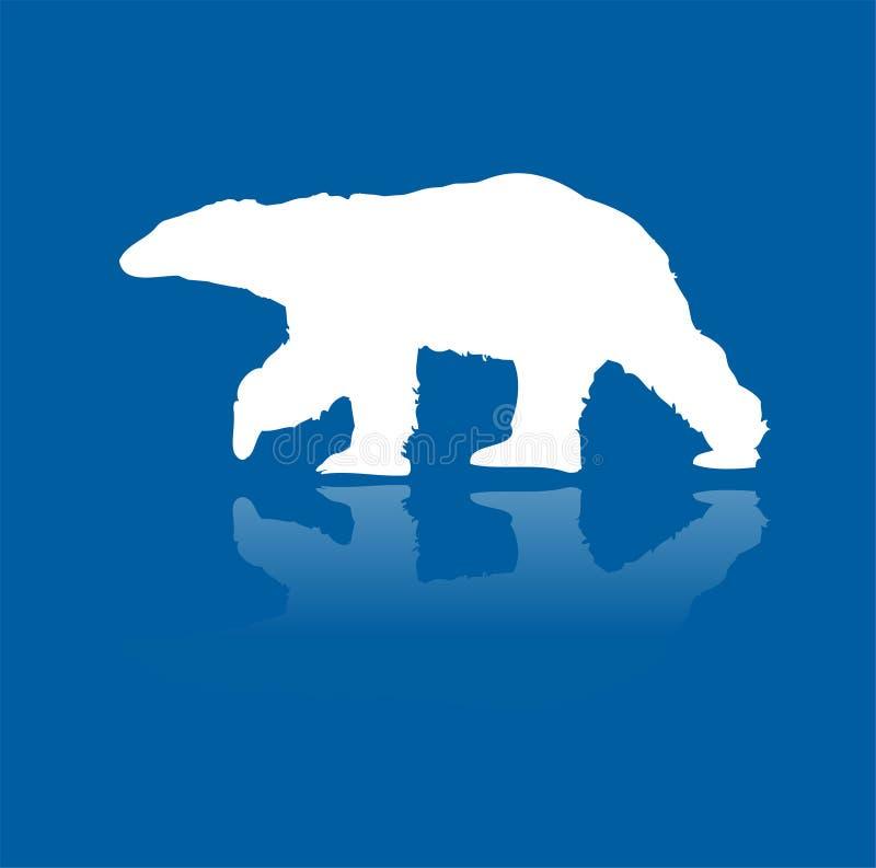Urso polar na silhueta do vetor do gelo