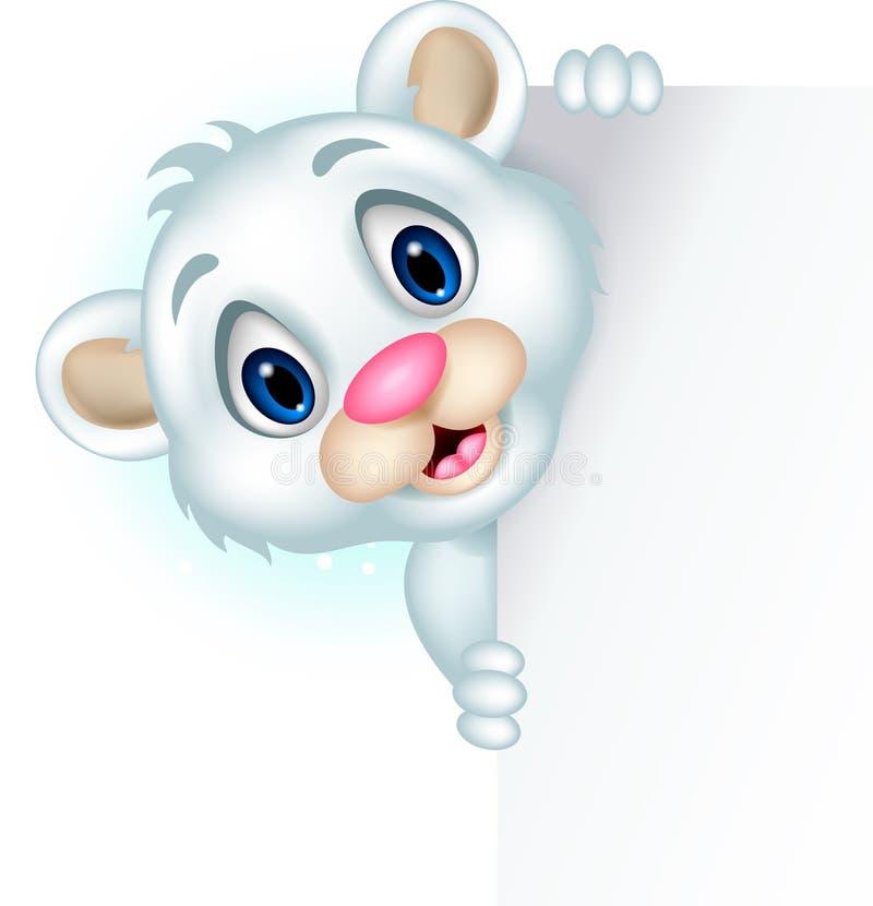Urso polar pequeno bonito que guardara o sinal vazio ilustração do vetor