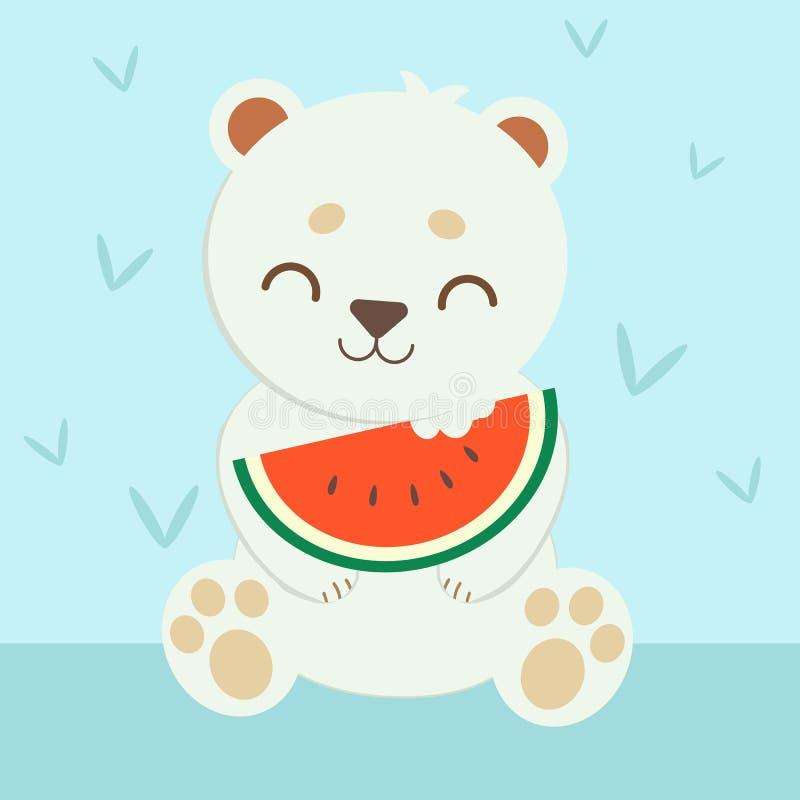 Urso polar que come uma melancia vermelha ilustração royalty free
