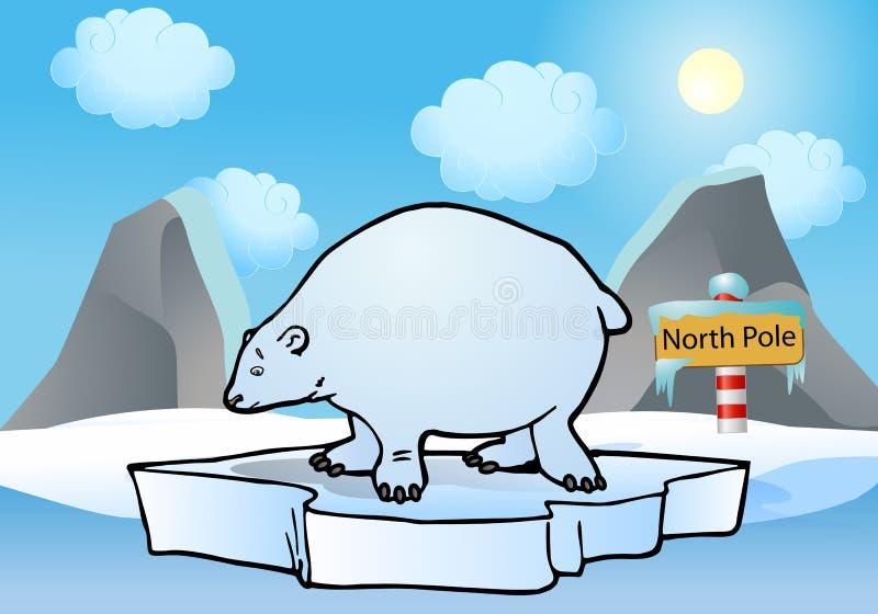 Urso polar que flutua no mar ártico ilustração stock
