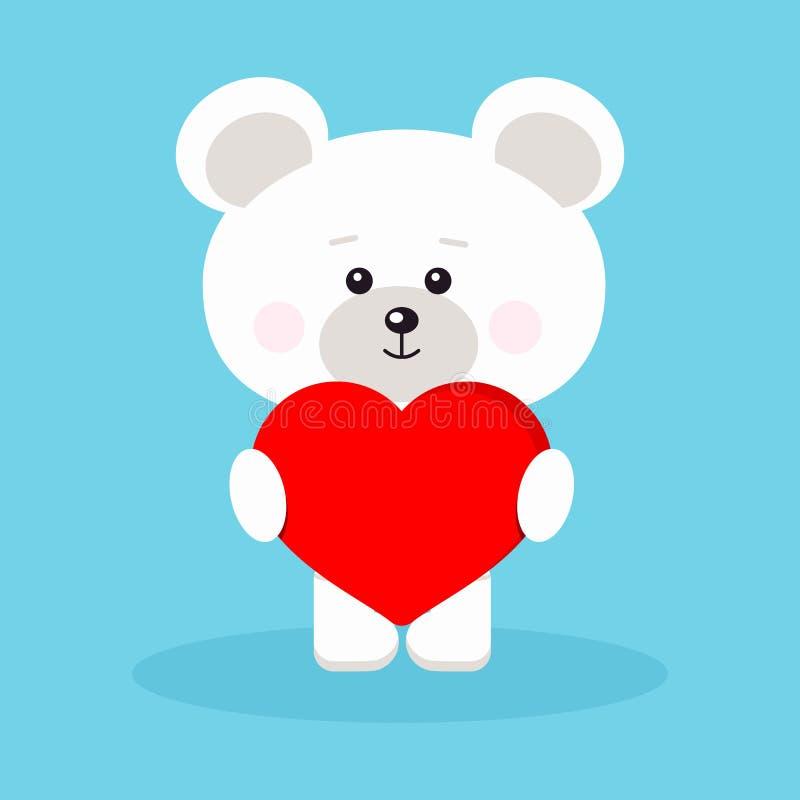 Urso polar romântico isolado do bebê bonito e doce com coração vermelho fotografia de stock
