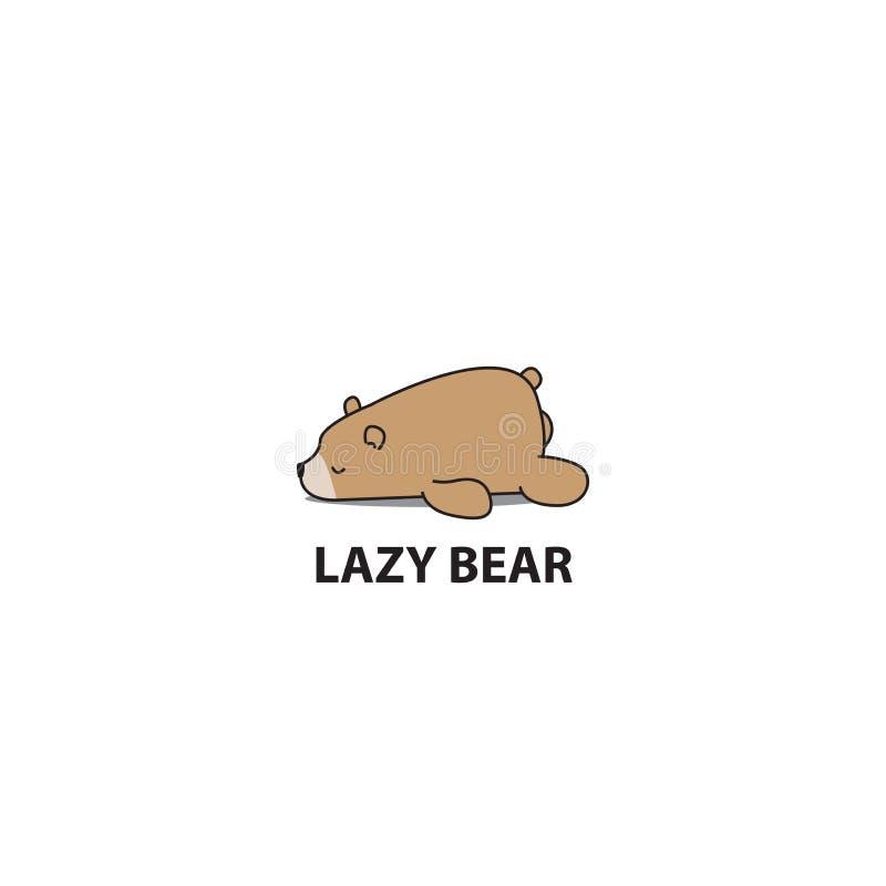 Urso preguiçoso, ícone do sono do urso pardo, projeto do logotipo ilustração stock