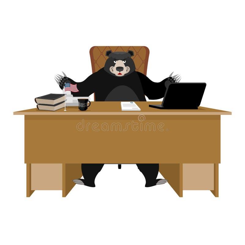 Urso preto americano de Baribal que senta-se no escritório Chefe do urso em t ilustração royalty free