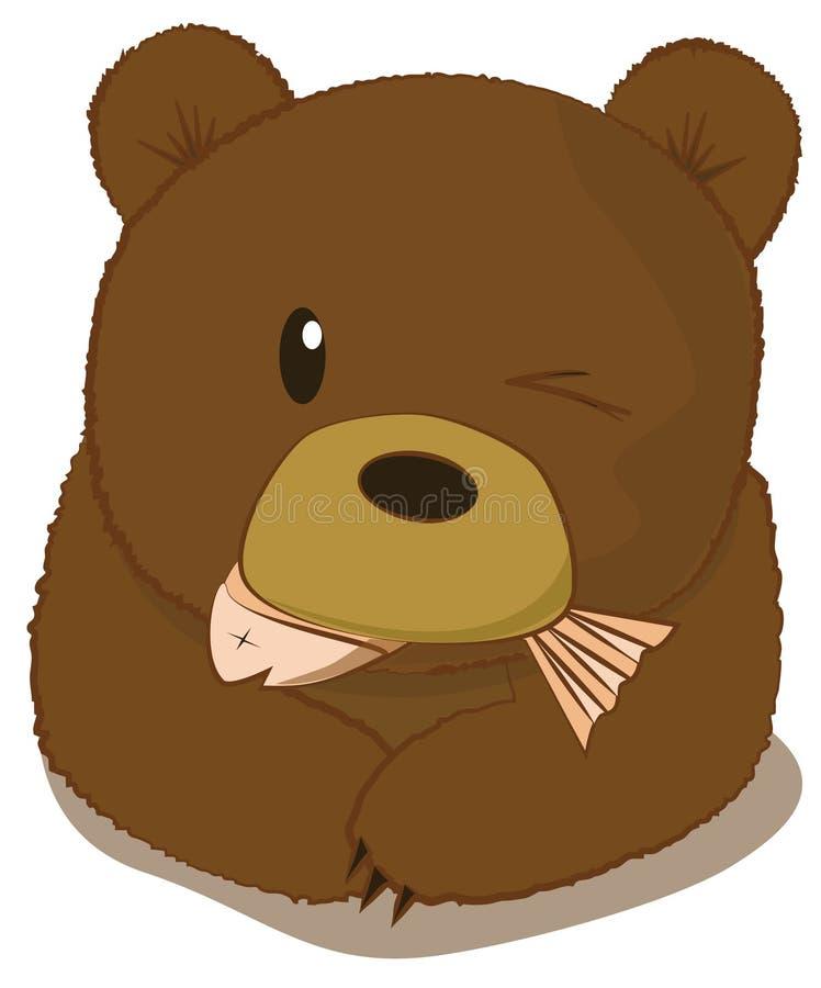 Urso que come peixes ilustração stock