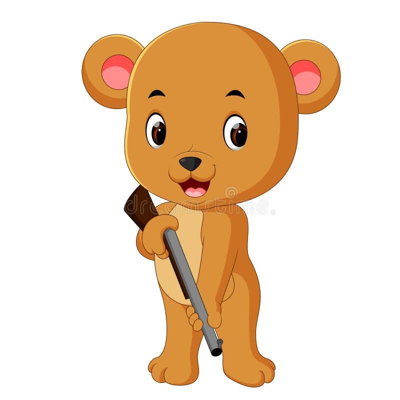 Urso que guarda a arma ilustração royalty free