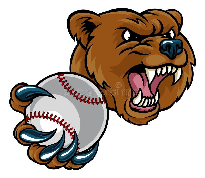 Urso que guarda a bola do basebol ilustração do vetor