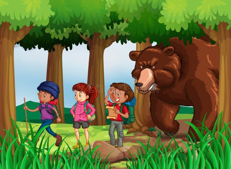 Urso que persegue caminhantes na floresta ilustração do vetor