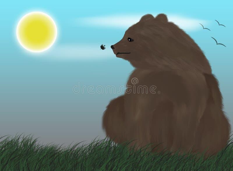 Urso sob o sol ilustração royalty free