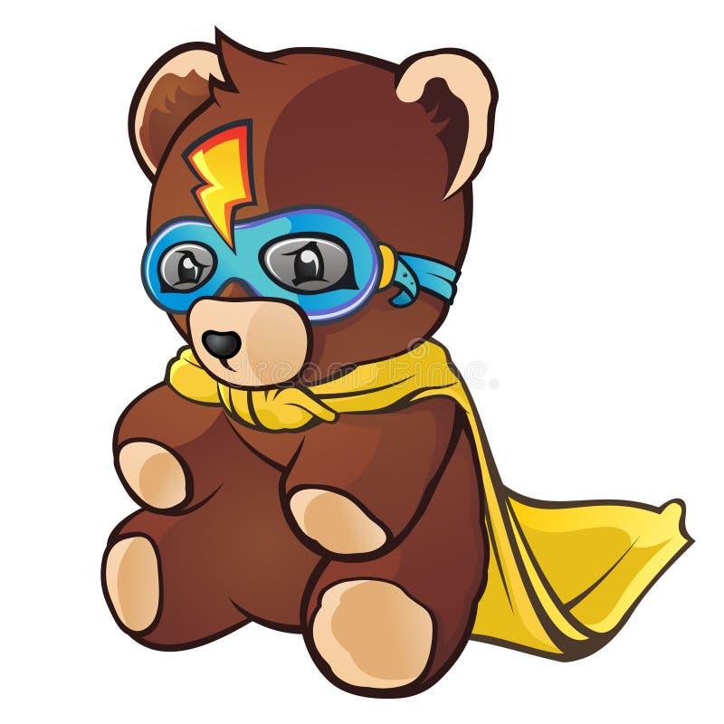 Urso super da peluche do herói ilustração stock