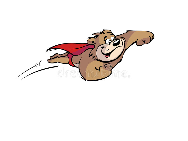 Urso super de voo ilustração do vetor